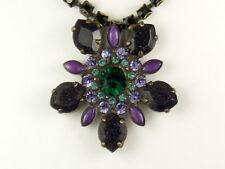 Vintage Necklace / Choker Pendant Necklace Emerald Green & Purple Colors