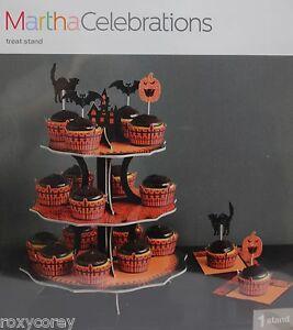 Halloween Martha Stewart Black & Orange Cupcake Treat Stand 12x15x12 NIP