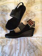 Skechers Women's Cali Rumblers Sci-Fi Black Memory Foam Sandals Size-5