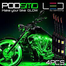 Green Motorcycle LED Lighting Strips Kit Engine-Bay Flexible Bright 12V Powered