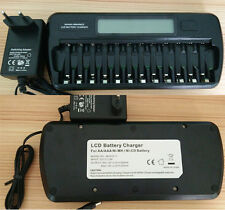12 Slots/Bays LCD Smart Charger For AA/AAA NI-MH NI-CD Rechargeable Battery