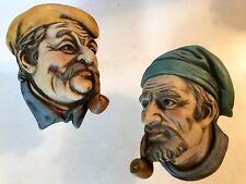 2 VINTAGE LEFTON PORCELAIN WALL HEAD PLAQUES SAILOR SMOKING PIPE NAUTICAL DECOR