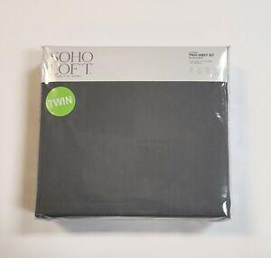 Soho Loft 4-Piece Twin Size Sheet Set Solid Gray Soft Wrinkle Resist Easy Care