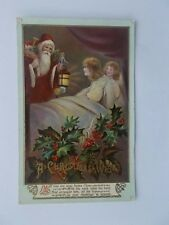 VINTAGE CHRISTMAS CARD POSTCARD - A CHRISTMAS WISH - SANTA WITH LANTERN