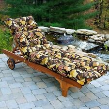 """Chaise Lounge Chair Cushion 72"""" Tufted Padded Patio Deck Pillow Floral Brown"""