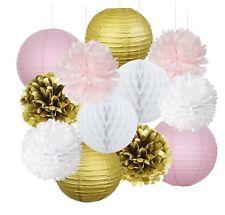 12pcs Pink Gold Party Decoration Kit Tissue Paper Pom Pom Honeycomb Ball Lantern