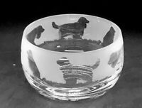 COCKER SPANIEL Frieze 12cm Boxed Crystal Glass Bowl