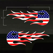 """USA American Flag Flames HotRod Flame 18x6.25"""" Decals US Stars Stripes Stickers"""
