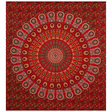 Hippie Red Peacock Bedspread Indian Cotton Mandala Bedding Tapestry Wall Cover