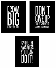 Dream Big 3-Set Wall Posters 8x10 inch Motivational Inspirational Famous Quotes