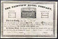 FAIRVIEW HOTEL COMPANY Stock 1876. Fairview, Delaware County, PA (Philadelphia)