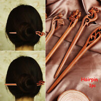 Vinatge Lady Ethnic Women's Wooden Handmade Carved Hair Sticks Pin Wood 4 style