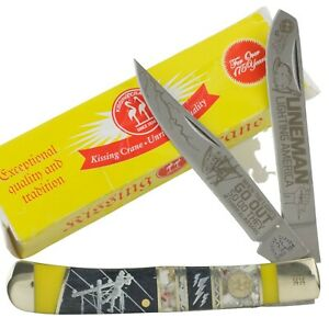 Kissing Crane Lineman II Limited Bone Trapper Pocket Knife KC5823