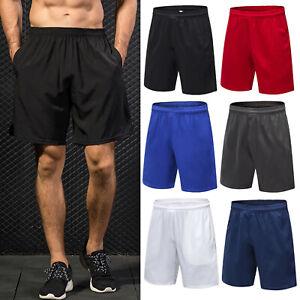 Men Elasticated Football Basketball Shorts Pocket Plain Sport Breathable Fitness