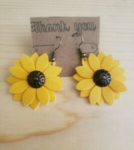 Handmade Sunflower Faux Leather Earrings