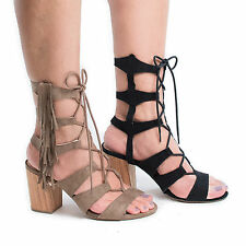 Susie08 Open Toe Gladiator Fringe Lace Up Block High Heel Sandals