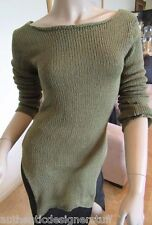 Auth SOUCHI Green Cotton Sweater, Size P, NWT Retail $338