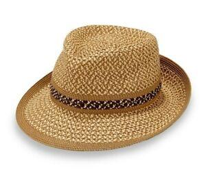 Eric Javits Big Deal Squishee Fedora Sun Hat in Natural UPF 50 Stripe