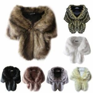 Women Warm Noble Bridal Wedding Faux Fur Long Shawl Stole Wrap Shrug Scarf UK