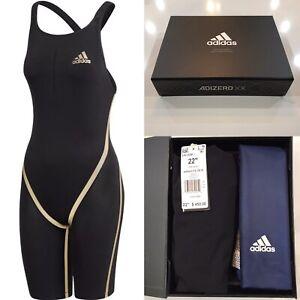 """NEW Adidas Adizero XX Open-Back Swimsuit - Black/Gold Lining - 22"""" (EK1326) $450"""