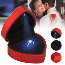 LED Heart-shaped Velvet Ring Earring Display Box Jewelry Gift Showcase Storage
