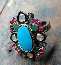 Natural Turquoise Firoza Ring,925 Solid Silver, Pave Diamond Ring,Gemstone Ring