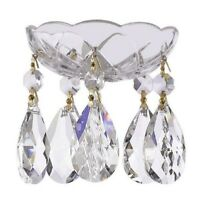 Asfour Lead Crystal Bobeche with Large Teardrop Chandelier Crystals Lamp Parts