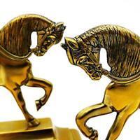 Superb PAIR VICTORIAN BRASS HORSE DOOR STOPS W&P