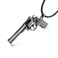 Unisex Men Cross Fire Revolver Pistol Gun Pendant Necklace Black Leather Chain