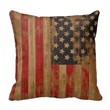 Vintage American Flag Pillow Cases Cotton Linen Sofa Cushion Cover Home Decor