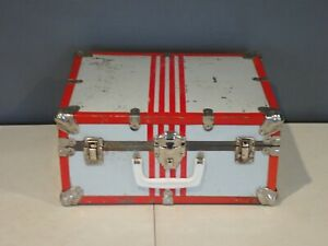"""Vintage Roller Skate Carrying Case Metal Box 15""""x12""""x7"""" Gray Red"""