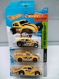 Hot Wheels / VW Beetle - MoonEyes - Yellow - Model Cars x3