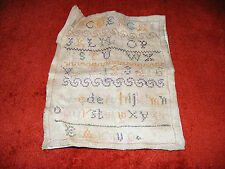 """Antique   Sampler   c1898   By   E.   Arnup   9.1/2""""  Inches  By  7.1/2""""  Inches"""