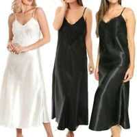 Womens Ladies Long Nightdress Satin Lace Nightie V-Neck Sling Solid Lingerie WP