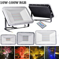 LED Flood Light 100W 50W 30W RGB Outdoor Security Garden Lamp Remote With MEMORY