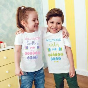 Kids Childrens Will Trade Brother Sister For Easter Egg Funny Matching T-Shirt
