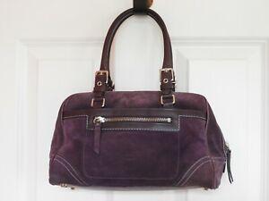 Coach Hamptons 8A77 Purple Suede / Leather Satchel Purse
