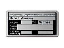 targa ì Schikra (Targa telaio in Alluminio) per Per collezionismo Raccolta TOP