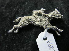 STERLING SILVER & MARCASITE HORSE & JOCKEY C1920'S BROOCH