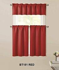 "Home 3pc Kitchen Curtain 2 Tier (36"" L) + 1 Valance (15"" L) Semi-Blackout Red."