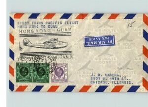 AIRMAIL, First TRANS PACIFIC FLIGHT, Hong Kong to Guam, 3 Hong Kong stamps, Firs