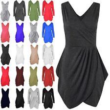 Womens Ladies Jersey Ruched Sleeveless Wrap Over Tunic Tulip Shape Mini Dress
