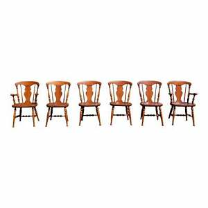 Vintage Set of 6 Mid Century Colonial Heywood Wakefield Maple Dining Chairs
