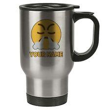 Personalisiert Gesicht Emoji Silber Reisebecher - Angry 3 - Nase Rauch - Add Ihr