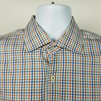 Peter Millar Mens Blue Brown Mini Check Dress Button Shirt Size Large
