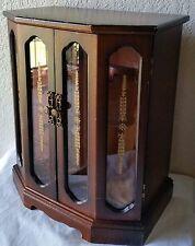 Vintage Dark Wood Wooden Music Jewelry Box Cabinet Necklaces Mirror Trinket
