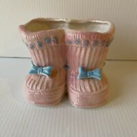 Vintage Pink Baby Planter Ceramic Double Bootie Mid Century Babies Nursery Decor