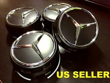 Set of 4 Raised Center Wheel Caps For  Mercedes Benz AMG Wheels Black Chrome