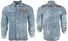 AFFLICTION Mens Embroidered L/S Button Down Shirt FORT STORY Indigo Blue $88 NWT