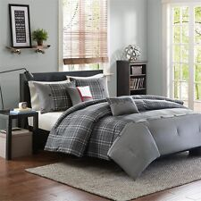 Gray, White & Red Plaid Cal King Comforter Shams & Toss Pillow 5 Pc Bed In A Bag